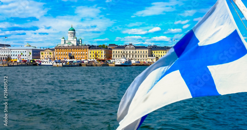 Canvas Print Helsinki, Finland  Market Square and Helsinki Cathedral and Finland flag