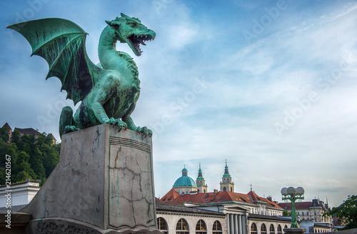 Dragon bridge (Zmajski most), symbol of Ljubljana, capital of Slovenia, Europe.