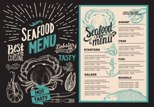Seafood Menu For Restaurant. Food Flyer For Bar And Cafe. Design Template With Retro Hand-drawn Illustrations.