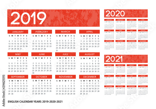 Fotografiet  English textured calendar 2019-2020-2021 vector template
