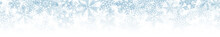 Christmas Horizontal Seamless Banner Or Background Of Many Layers Of Snowflakes Of Different Shapes, Sizes And Transparency. Gradient From Light Blue To White