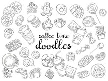 Set Of Coffee, Candy, Cakes, Buns And Biscuits Isolated On White Background. Hand Drawn Doodle Grahic.