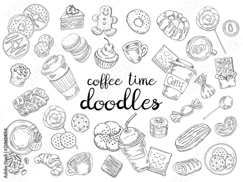 Fotografia Set of coffee, candy, cakes, buns and biscuits isolated on white background