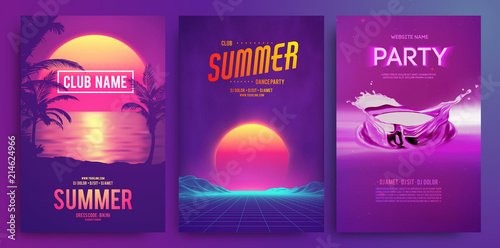 Aluminium Prints Violet Retro background futuristic landscape 1980s style. Cocktail party, Electronic music fest, electro summer poster. Abstract gradients music background. EPS 10 Vector illustration. Vibrant design.