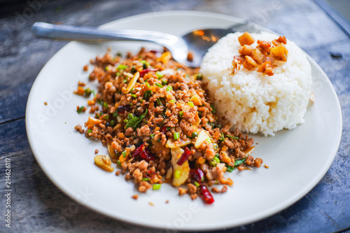 """Pad Krapow Moo"" spicy pork with thai basil"