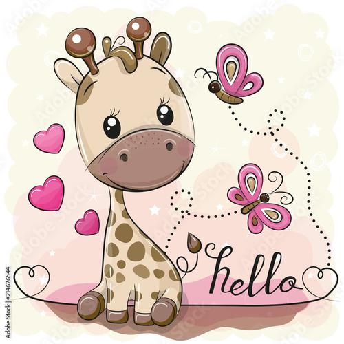 Cute Cartoon Giraffe and butterflies Wallpaper Mural