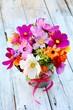 Leinwandbild Motiv Grußkarte - Blumenstrauß Sommerblumen