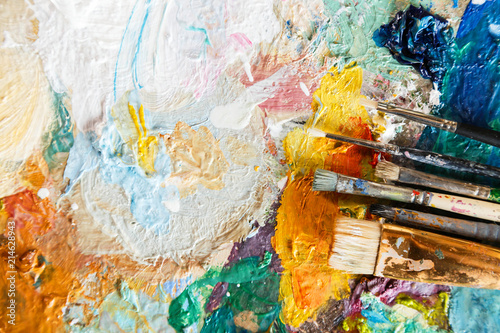 Fotomural Oil paint and paint brush on a palette, abstract art texture, colorful, modern a