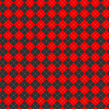 Argyle Pattern Red Black Dashed