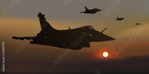 Slika na platnu avion de chasse - guerre - escadrille - mirage 2000 - combat aérien - avion - mi