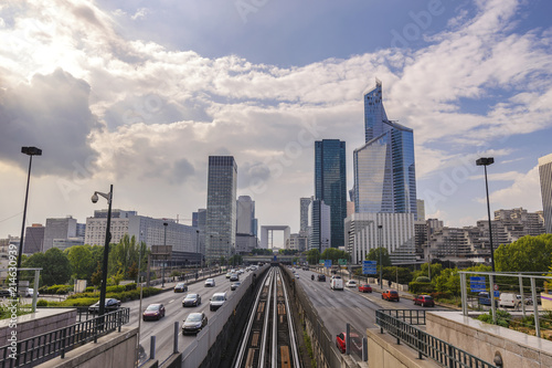 Fotografia  Paris city skyline at La Defrense business district, Paris France