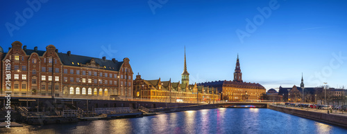 Copenhagen night city skyline panorama at Copenhagen Harbour, Copenhagen Denmark Canvas Print
