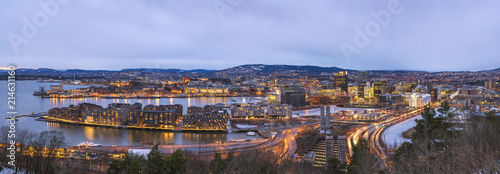 Oslo night aerial view city skyline panorama at business district and Barcode Pr Canvas Print