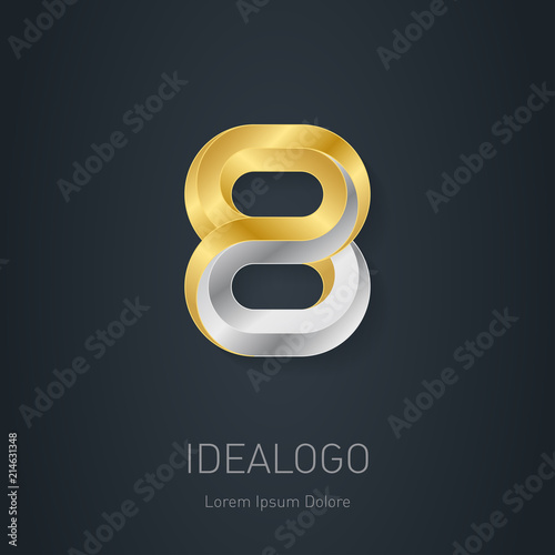 Number 8 logo design template. Gold and Silver Vector illustration. Wall mural