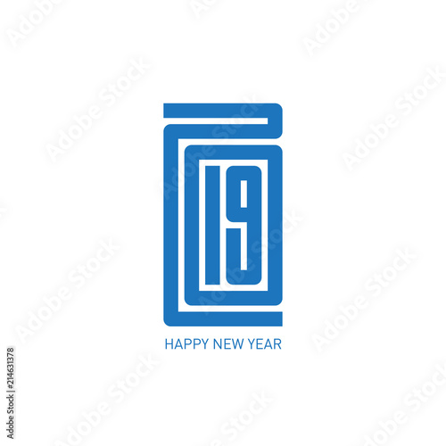 happy new year 2019 minimalist calendar or brochure cover typographic vector illustration or greeting card
