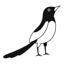 Asian Magpie Icon. Simple Illustration Of Asian Magpie Vector Icon For Web Design Isolated On White Background