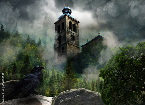 Foto Fantastic scenery with church in clouds and raven