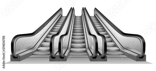 Fotomural Group of escalator in metro mockup