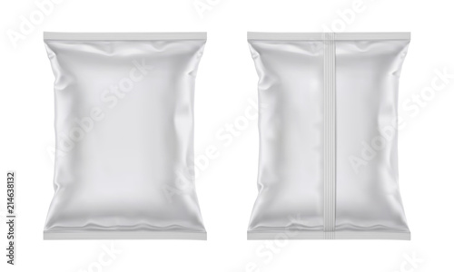 Obraz Vector blank plastic foil bag for packaging design, mockup template for food snack, chips, cookies, peanuts, candy. Isolated on white background - fototapety do salonu