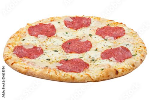 Photo Pizza Salami freigestellt Freisteller isoliert