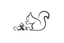 Black Icon Of Squirrel With Nuts On White Background