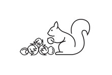 Black Icon Of Squirrel With Nu...