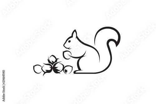 Fotomural black icon of squirrel with nuts on white background