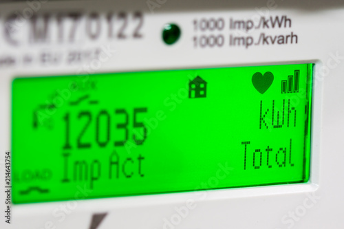 Smart meter digital display, showing units and focus on kilowatt hour symbols.