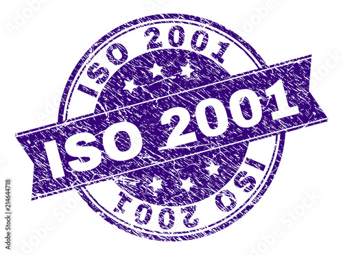 Photo  ISO 2001 stamp seal watermark with grunge texture