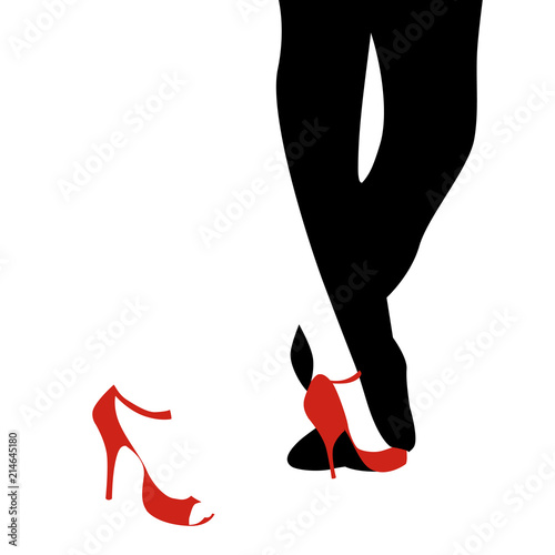 Fotografie, Obraz Legs of woman and man dancing tango on white background
