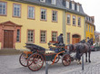 """Horse Carriage in front of Johann Wolfgang von Goethe's house at the Place """"Frauenplan"""" in the city of Weimar in Germany"""