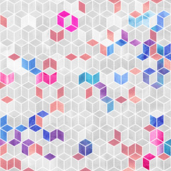 Fototapeta Wzory geometryczne Watercolor mosaic. Bright summer pattern with watercolor cubes.