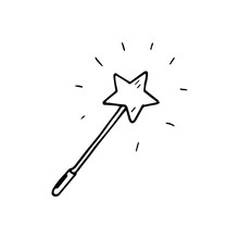 Hand Drawn Magic Wand Doodle. ...
