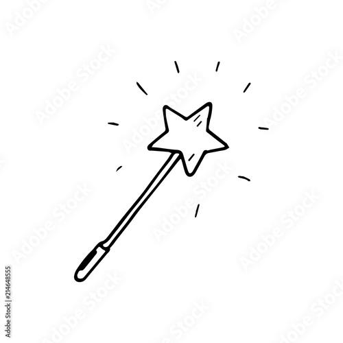 Fotografía Hand Drawn magic wand doodle