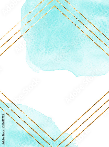 Bright blue turquoise watercolor texture Invitation card design Golden rhombus frame
