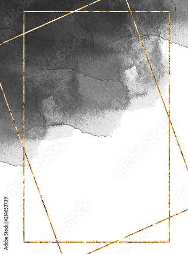 zlota-ramka-na-ciemnoszarym-tle-akwarela-projekt-karty-zaproszenie-wystroj-czarne-tekstury-akwarela-ramka-zlotej-folii-ramka-wielokata
