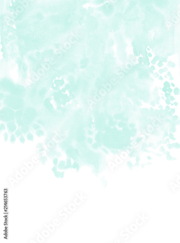 Soft Mint Green Watercolor Texture Paint Stains Invitation Card Design Template