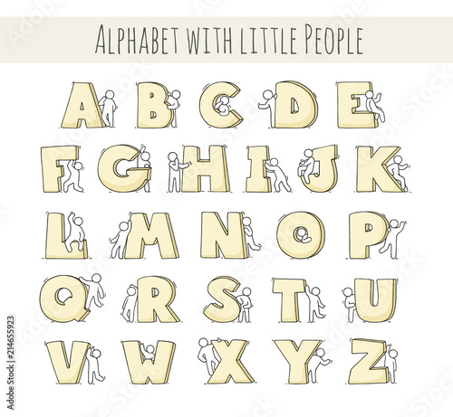 Plakat abecadło - alfabet sketch-little-people-with-letters