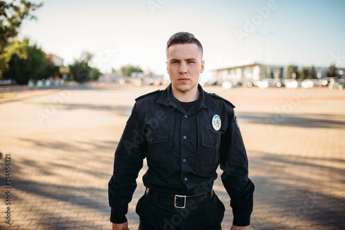 Canvas Male police officer in uniform on the road