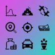 Vector icon set about business with 9 icons related to performance, tourist, traveler, blue, modern, lounge, lawn, planning, house and pile
