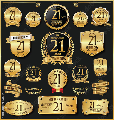 Fotografia Anniversary retro vintage golden badges and labels vector 21 years