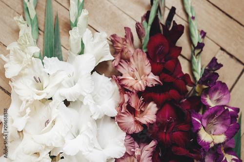 beautiful gladiolus in different colors flowers on wooden rustic background, arr Billede på lærred