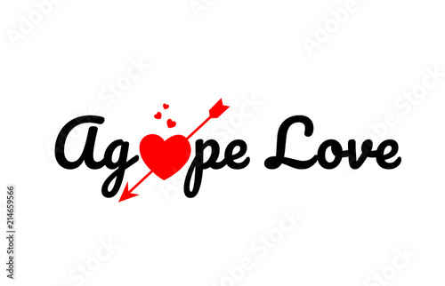 Photo agape love word text typography design logo icon