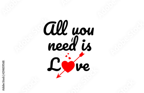 Photo  all you need is love word text typography design logo icon
