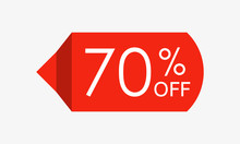 70 Percent Off. Sale And Discount Price Tag, Icon Or Sticker. Vector Illustration.