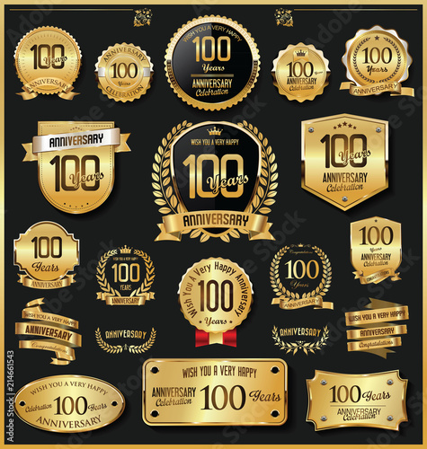 Fotografia  Anniversary retro vintage golden badges and labels vector 100 years