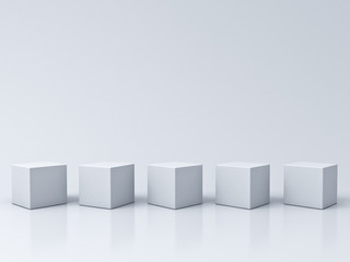 Five blank box podiums on white grey background with reflections and shadows 3D rendering