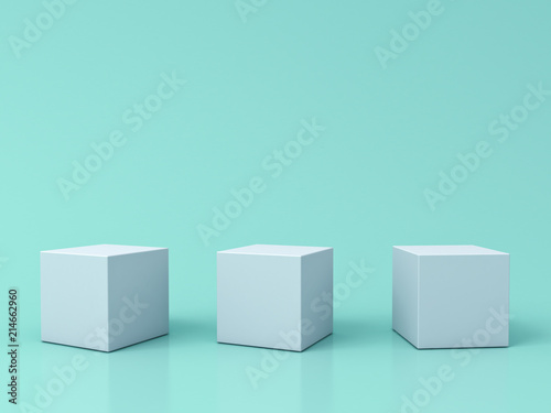 Fotografie, Obraz  Three blank white box podiums isolated on green pastel color background with ref