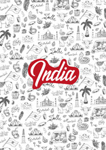 India Travel Background With Indian Hand Drawn Doodles. Vector Illustration.