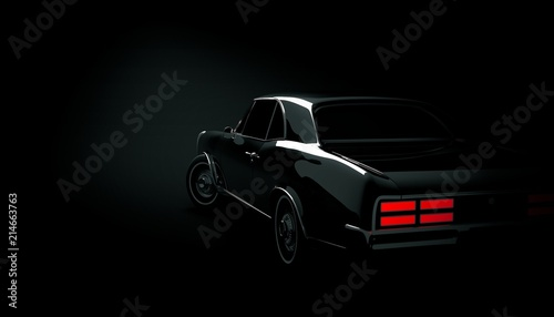 Obraz Classic car on a black background. 3d render - fototapety do salonu